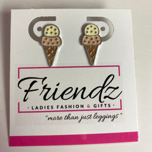 Ice cream cone silver post earrings