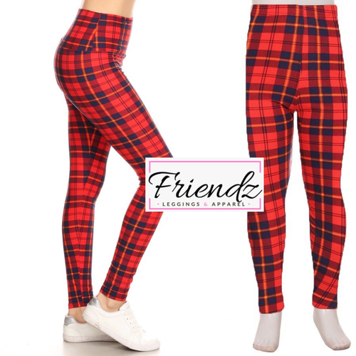 Red plaid leggings - Friendz Leggings Apparel