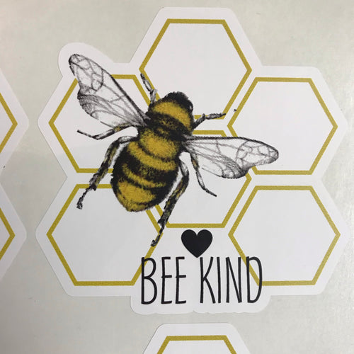 Bee kind honeycomb sticker
