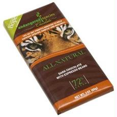 Endangered Species Dark Chocolate Bar Espresso Tiger (12x3 Oz)