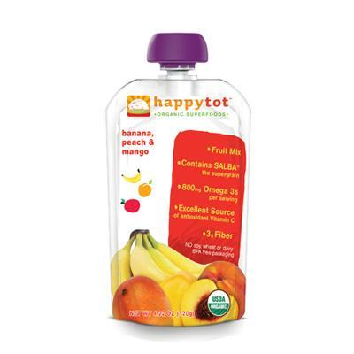 Happy Tot Organic Stage 4 Pouch Food Banana, Mango & Peach (16x4.22 Oz)