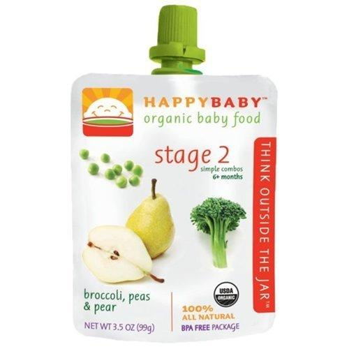 Happy Baby Broccoli, Peas & Pear Stage 2 Baby Food (16x3.5 Oz)