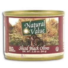 Natural Value Ripe Sliced Black Olives (24x2.25oz)