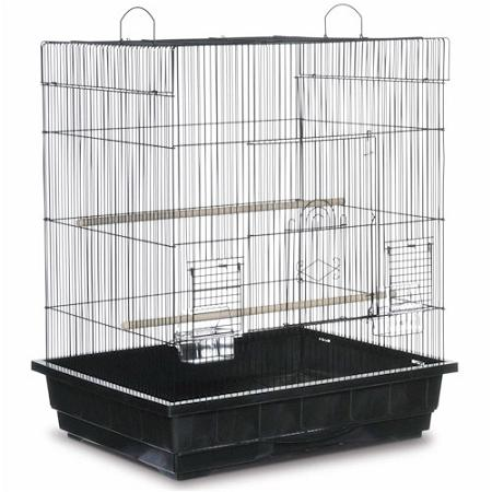 Square Roof Parakeet Cage - Black