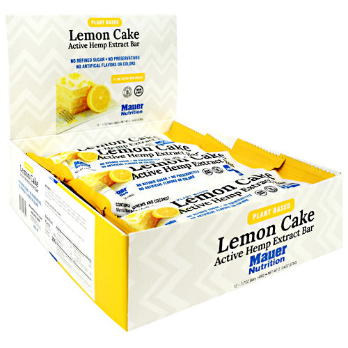 Mauer Sports Nutrition Plant Based Active Hemp Extract Bar Lemon Cake - Gluten Free