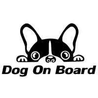 YJZT 15CM*8.2CM Dog On Board Car Vinyl Decal Sticker Bulldog Puppy Funny Cute Animal Black/Silver C10-00696
