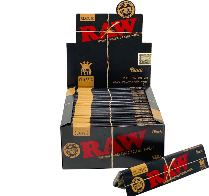RAW BLACK KING SIZE SLIM 50 COUNT PER BOX