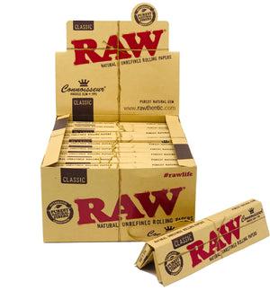 RAW CLASSIC KING SIZE SLIM  CONNOISSEUR PAPERS+TIPS 24 COUNT PER BOX
