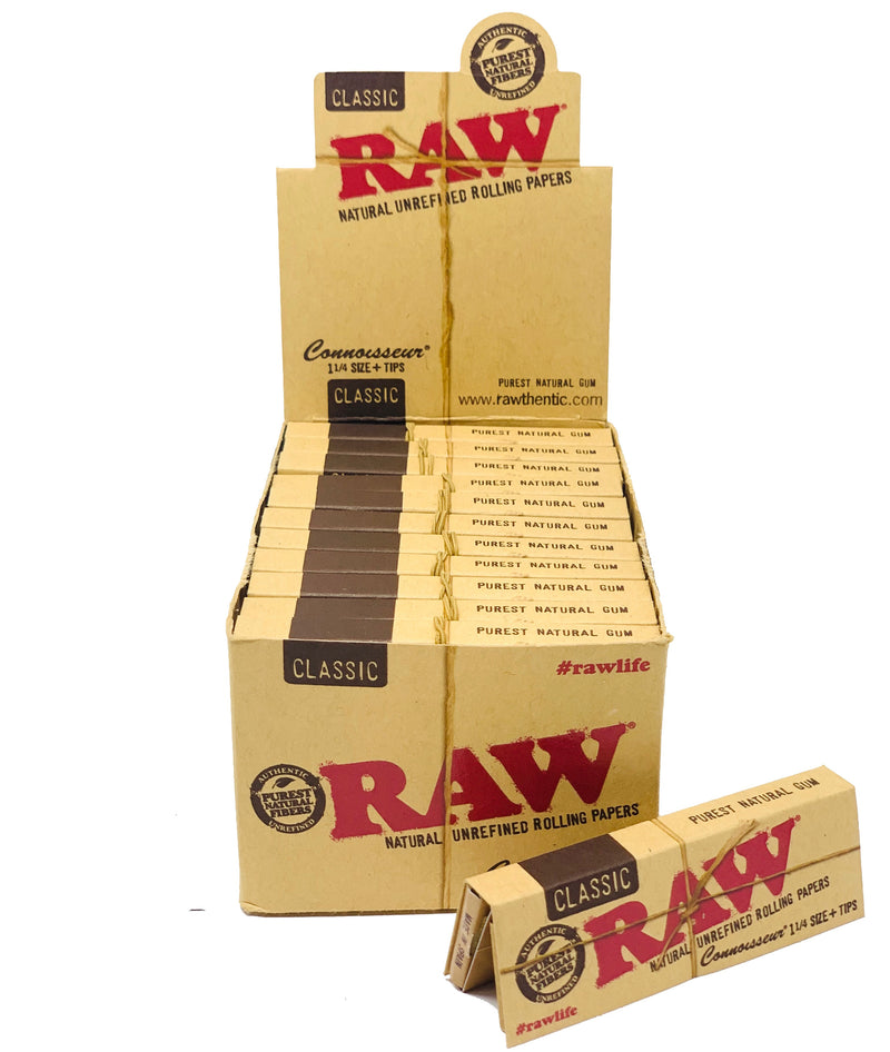 RAW ORAGNIC HEMP  1 1/4  CONNOISSEUR PAPERS+TIPS 24 COUNT PER BOX