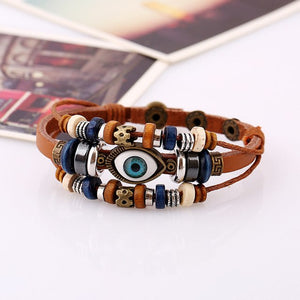 BX118 Handmade Boho Gypsy Hippie Multi Colors Leather Evil Eye Charms Hematite Wood Button Beads Wrap Unisex Layers Bracelet