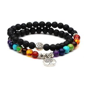 Seven Chakra Bracelets Tree Life Pendent Alloy 6mm Natural Stone Beaded Lenght 35cm Double Loop Women Colorful Lava Bracelet