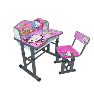 Cabinet Art Misa Kids Table with Chair Metal Desk Chair  (Finish Color - Pink with Grey)