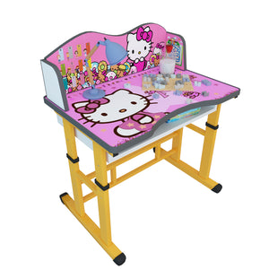 Cabinet Art Misa Kids Table with Chair Metal Desk Chair  (Finish Color - Pink with Yellow)