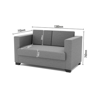 FURNITURE MAMA Fabric 2 Seater Sofa  (Finish Color - Grey & Black)
