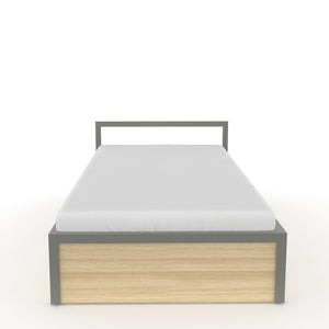 Congo  Single bed with storage  in Dove Grey Metal and Oak Finish