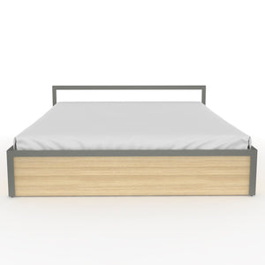 Congo  Queen Bed with storage in Dove Grey Metal and Oak Finish
