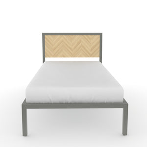 Amazon Single bed in Dove Grey Metal and Oak Finish