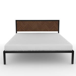 Amazon Queen Bed in Black metal and Walnut  Finish