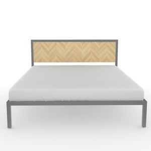 Amazon Queen Bed in Dove Grey Metal and Oak Finish