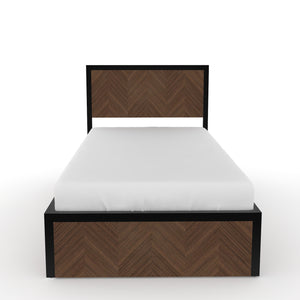 Sequoia Single bed with Storage  in Black metal and Walnut  Finish