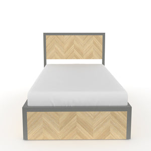 Sequoia Single bed with Storage  in Dove Grey Metal and Oak Finish