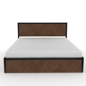 Sequoia Queen Bed with storage in Black metal and Walnut  Finish