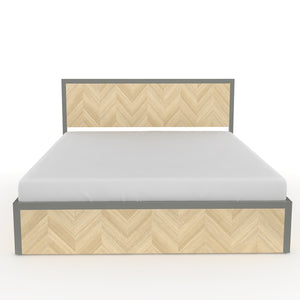 Sequoia Queen Bed with storage in Dove Grey Metal and Oak Finish