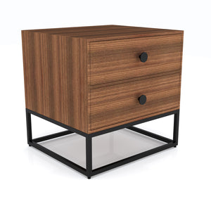 Cairro Two drawer Bedside table in Black Finish