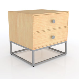 Cairro Two drawer Bedside table in Oak grey Finish