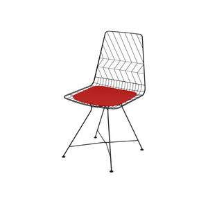 Mogano Matt Black Electroplated & Contrast Red Cushioned Seat