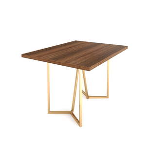 Evita Four Seater Dining Table Without Chairs in Bretta Board and Gold Metal Finish