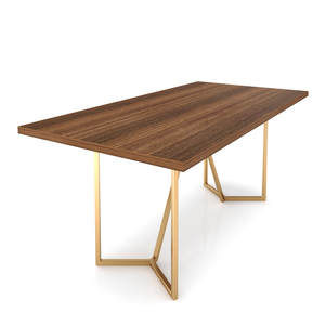 Six Seater Dining Table Without Chairs in Bretta Board and Gold Metal Finish