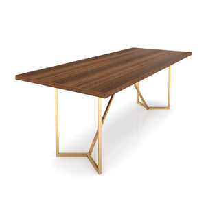 Eight Seater Dining Table Without Chairs in Bretta Board and Gold Metal Finish
