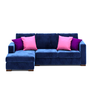 Calisto L Shaped Sofa 2 Seater in Blue Fabric Finish