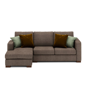 Calisto L Shaped Sofa 2 Seater in Brown Fabric Finish