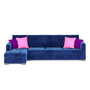 Calisto L Shaped Sofa 3 Seater in Blue Fabric Finish