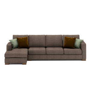 Calisto L Shaped Sofa 3 Seater in Brown Fabric Finish