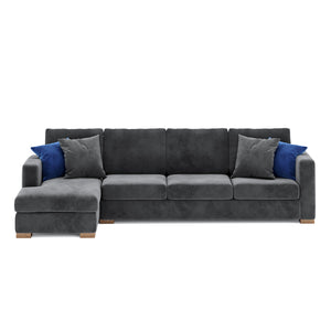Calisto L Shaped Sofa 3 Seater in Gray Fabric Finish