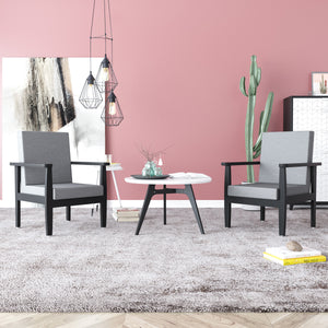 Alexo 1 Seater In Grey and Black  Solid Wood Finish