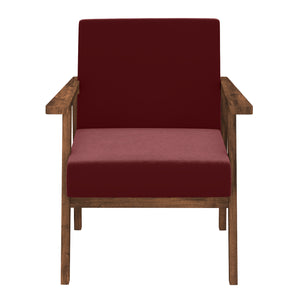 Alena  Sofa 1 Seater in Maroon Solid Wood Finish