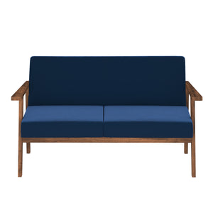 Alena  Sofa 2 Seater in Blue Solid Wood Finish