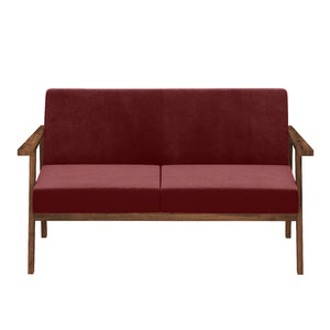 Alena  Sofa 2 Seater in Maroon Solid Wood Finish