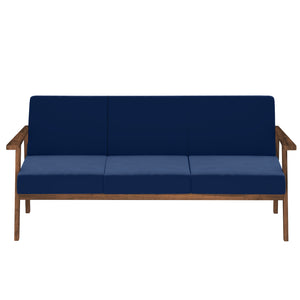 Alena  Sofa 3 Seater in Blue Solid Wood Finish