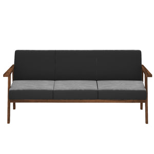 Alena  Sofa 3 Seater in Gray Solid Wood Finish