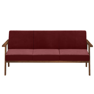 Alena  Sofa 3 Seater in Maroon Solid Wood Finish