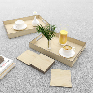 Enzo Wooden Tray & Organiser with Tea & Coffee Coasters (3 Trays & 6 Coasters)