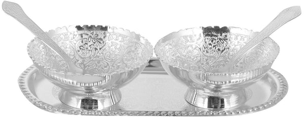 MyeCraft Brass Silver Plated Bowl (Medium)-Set of 2 Pieces