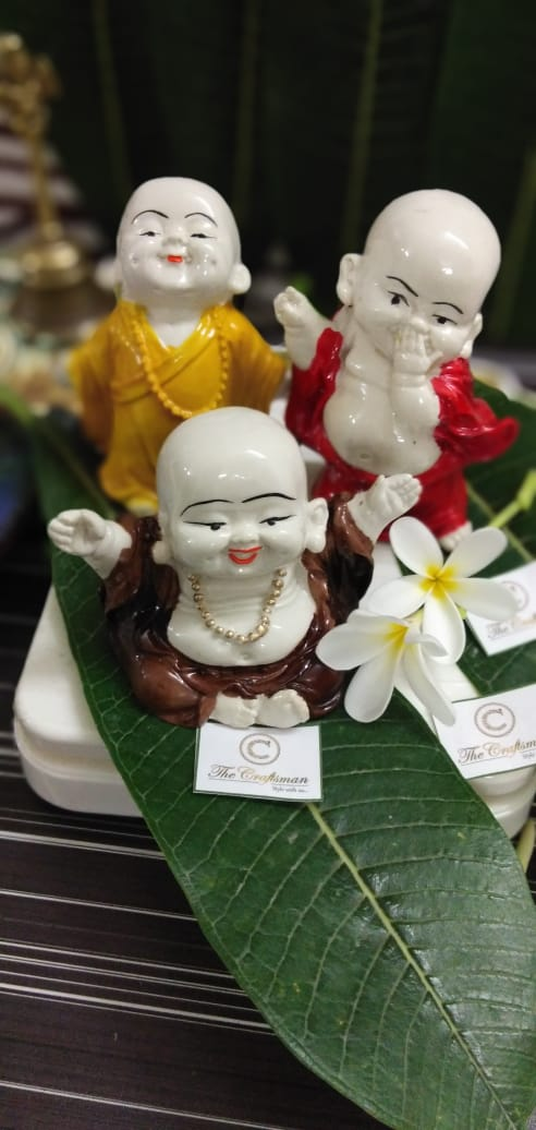 Monk Showpiece Laughing Baby Buddha Decorative Showpiece Combo Pack 3