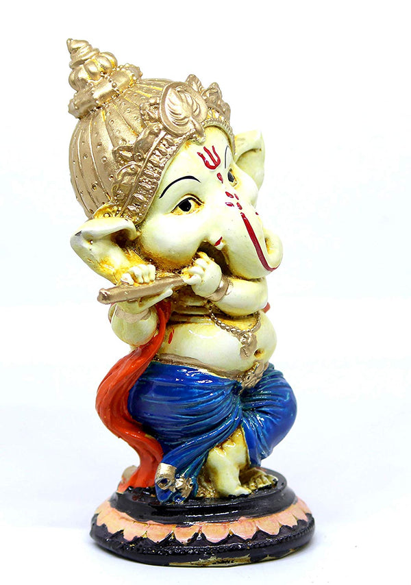 Myecraft Handcrafted Lord Ganesha Idol Sculpture Showpiece Figurine(6 * 3 * 3 Inches) (Gold) (Blue)
