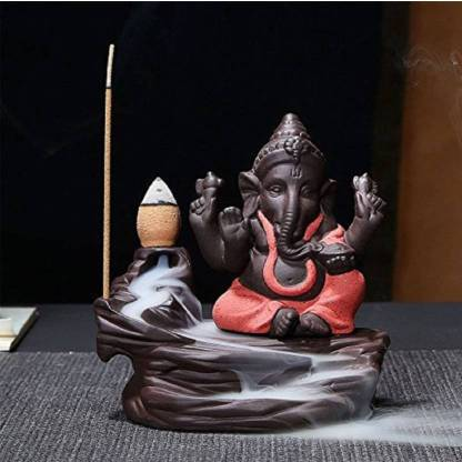 Myecraft Smoke Ganesh Ji Backflow incense burner Idols Statue Polyresin Incense Holder Set  (Multicolor)